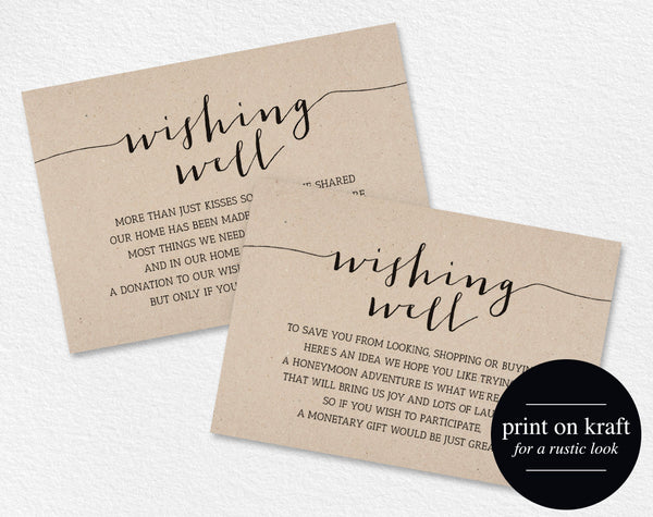 Wishing Well Card, Wedding Wishing Well, Wishing Well Printable, Wedding Insert, Wish Well, lieu of gifts, PDF Instant Download #BPB165_25 - Bliss Paper Boutique