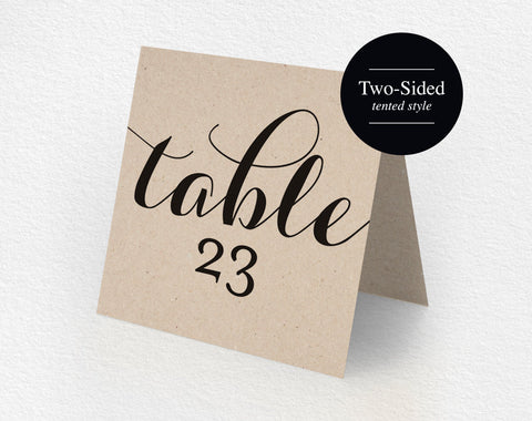 Printable Table Numbers, Printable Wedding Table Numbers, Tented Table Number, Kraft, Rustic Wedding, DIY, PDF Instant Download #BPB133_7 - Bliss Paper Boutique