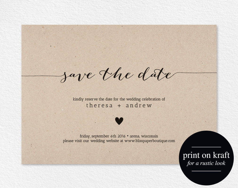 Save the Date Invitation, Save the Date Printable, Wedding Printable ...