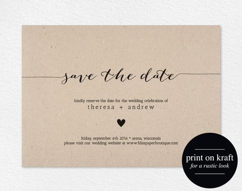 Save the Date Invitation, Save the Date Printable, Wedding Printable, Wedding Invitation, Template, PDF Instant Download #BPB165_2 - Bliss Paper Boutique