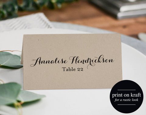 Wedding Place Card Printable Template, Place Cards Template, Editable Place cards, Kraft Wedding, PDF Instant Download #BPB133_6 - Bliss Paper Boutique