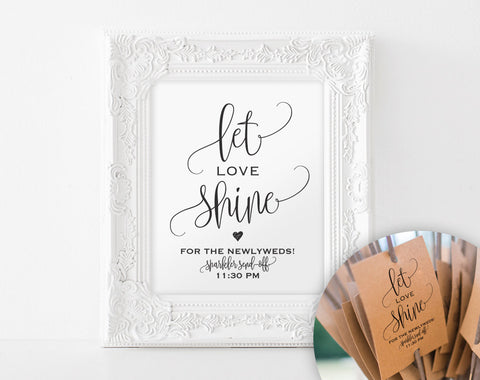 Sparkler Sendoff Sign, Sparkler Sign, Let Love Shine Sign, Sparkler Send Off, Wedding Sparkler Tags, Sign, PDF Instant Download #BPB203_46 - Bliss Paper Boutique