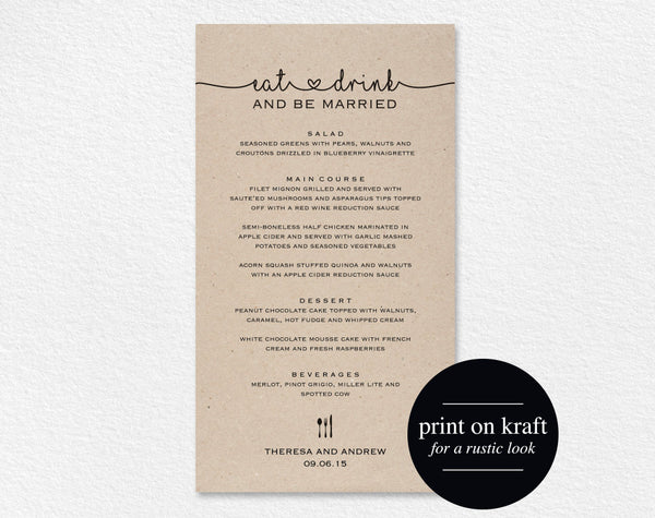 Wedding Menu Printable, Wedding Menu Template, Wedding Menu Cards, Dinner Menu Template, Editable Menu, PDF Instant Download #BPB140_4 - Bliss Paper Boutique