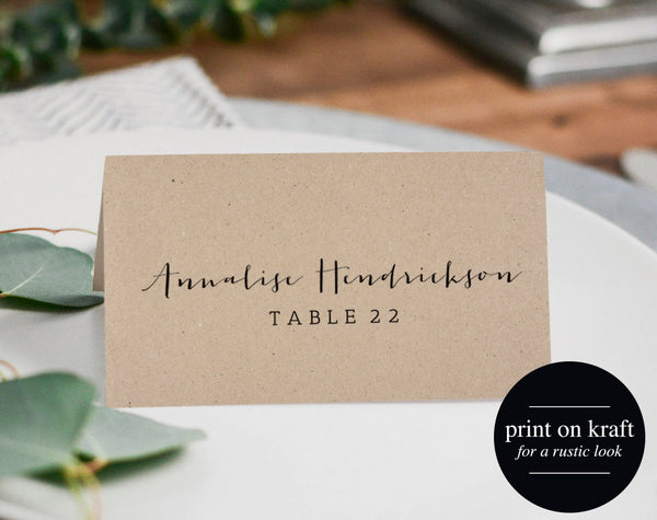 Rustic Wedding Place Cards, Printable Template, Flat Place Cards, Seating Cards, Printable Template, PDF Instant Download #BPB165_6 - Bliss Paper Boutique