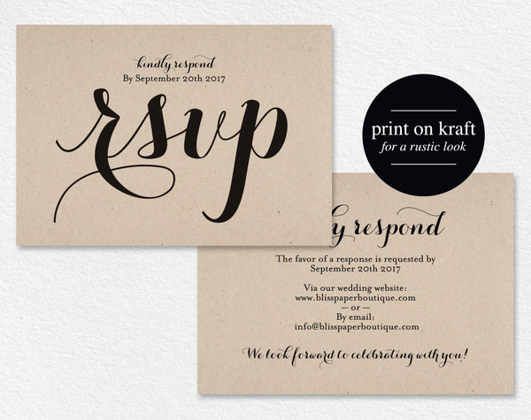 RSVP Postcard, rsvp template, wedding rsvp cards, wedding rsvp postcards, rsvp cards, rsvp online, DIY, PDF Instant Download #BPB133_1_1 - Bliss Paper Boutique