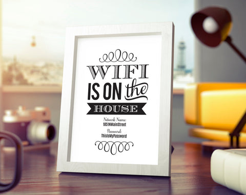 WIFI Password Printable, Wifi Password Sign, internet sign, WIFI Is On The House Sign, Guest Room Sign, PDF Instant Download #BPB340_E - Bliss Paper Boutique