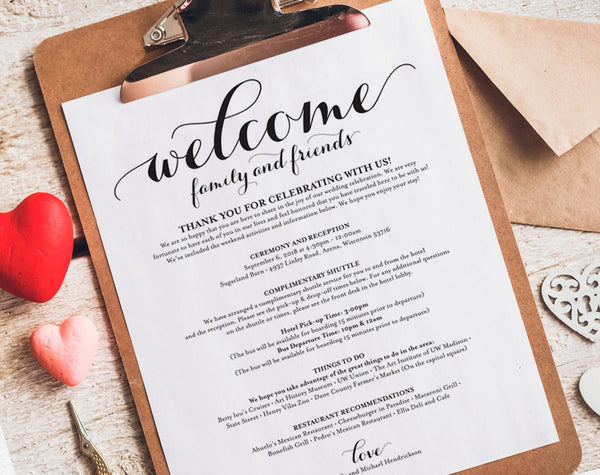 Wedding Itinerary, Welcome Bag, Printable Itinerary, Welcome Letter, Wedding Favor, Wedding Printable, PDF Instant Download #BPB133_53 - Bliss Paper Boutique