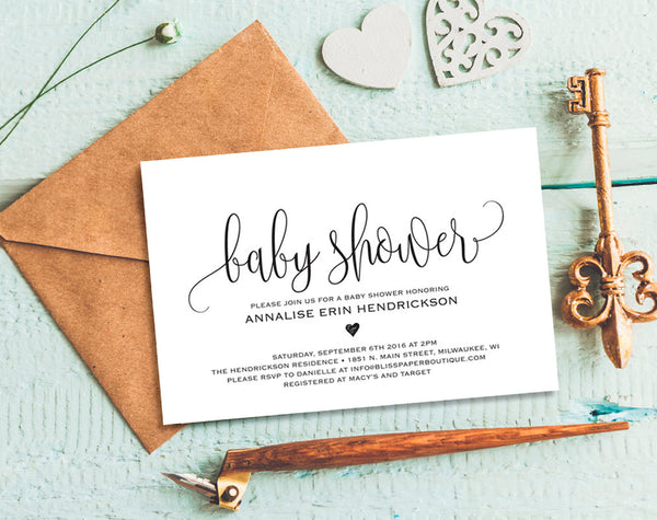 Baby Shower Invitation, Baby Shower Invitation Template, Invitation Printable, Boy, Girl, Baby Shower Invite, PDF Instant Download #BPB309_1 - Bliss Paper Boutique