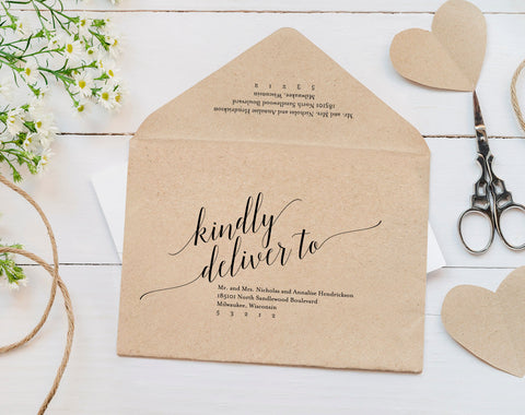 Envelope Template Wedding Envelope Calligraphy Wedding Envelope