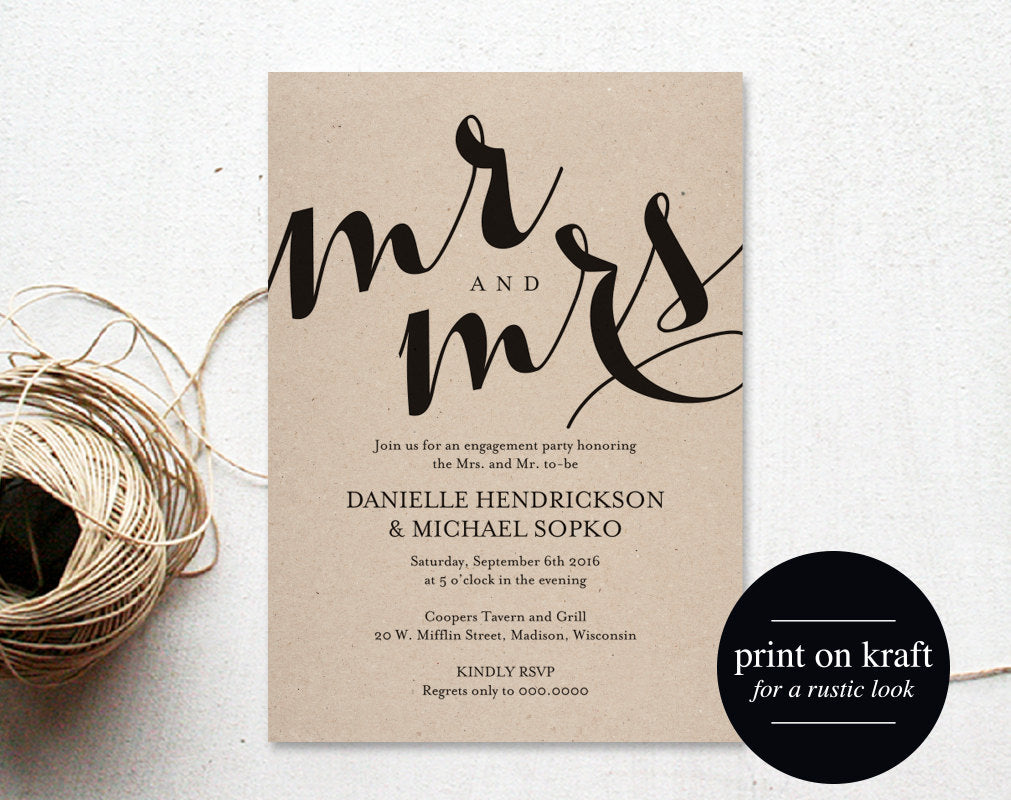 Engagement Party Invitation Wedding Printable Dinner Template PDF Instant Download BPB133 8