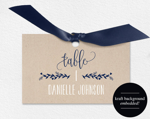 Wedding Place Cards, Wedding Place Card Printable, Place Card Template, Wedding Printable, Navy Blue Wedding, PDF Instant Download #BPB219_6 - Bliss Paper Boutique