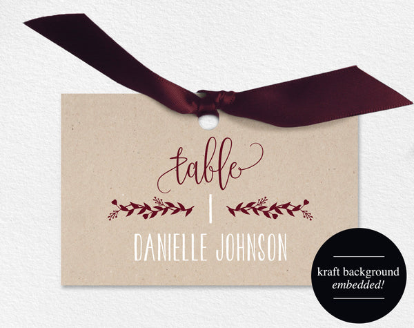 Wedding Place Cards, Wedding Place Card Printable, Place Card Template, Wedding Printable, Merlot, Maroon, PDF Instant Download #BPB220_6 - Bliss Paper Boutique