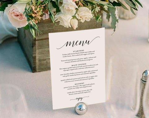 Wedding Menu Template, Wedding Menu Printable, Wedding Menu Cards, Table Menu, Menu Sign, Table Setting, PDF Instant Download #BPB310_4B - Bliss Paper Boutique