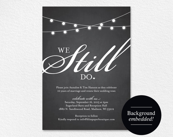 We Still Do Vow Renewal Invitation, Vow Renewal Invite, Wedding Vow Renewal, Vow Renewal Printable, PDF Instant Download #BPB188_68 - Bliss Paper Boutique