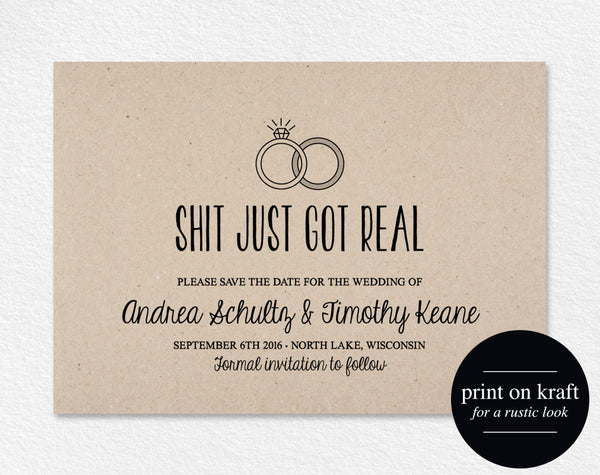 Wedding Save The Dates.Funny Save The Date Printable Shit Just Got Real Wedding Invitation Save The Date Postcard Template Pdf Instant Download Bpb04