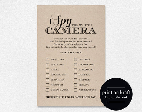 I Spy With My Little Camera Printable Card, I Spy Wedding Game, Wedding Favor, Wedding Reception Game, Hashtag Sign, Instant Download #BPB44 - Bliss Paper Boutique