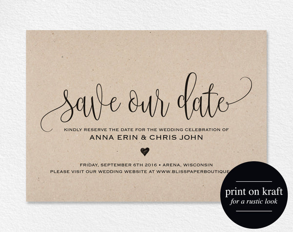 Save the Date Template, Save our Date Card, Save the Date Printable, Wedding Printable, Rustic Wedding, PDF Instant Download #BPB203_2 - Bliss Paper Boutique