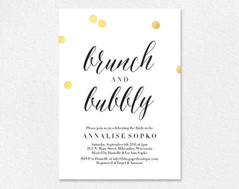 Bridal Brunch Invitation, Bridal Shower Invitation, Brunch and Bubbly Invitation, Wedding Shower Invite, PDF Instant Download #BPB270 - Bliss Paper Boutique