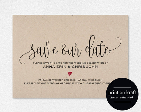 Save the Date Template, Save the Date Card, Save the Date Printable, Wedding Printable, Red Wedding, Rustic, PDF Instant Download #BPB234_2 - Bliss Paper Boutique