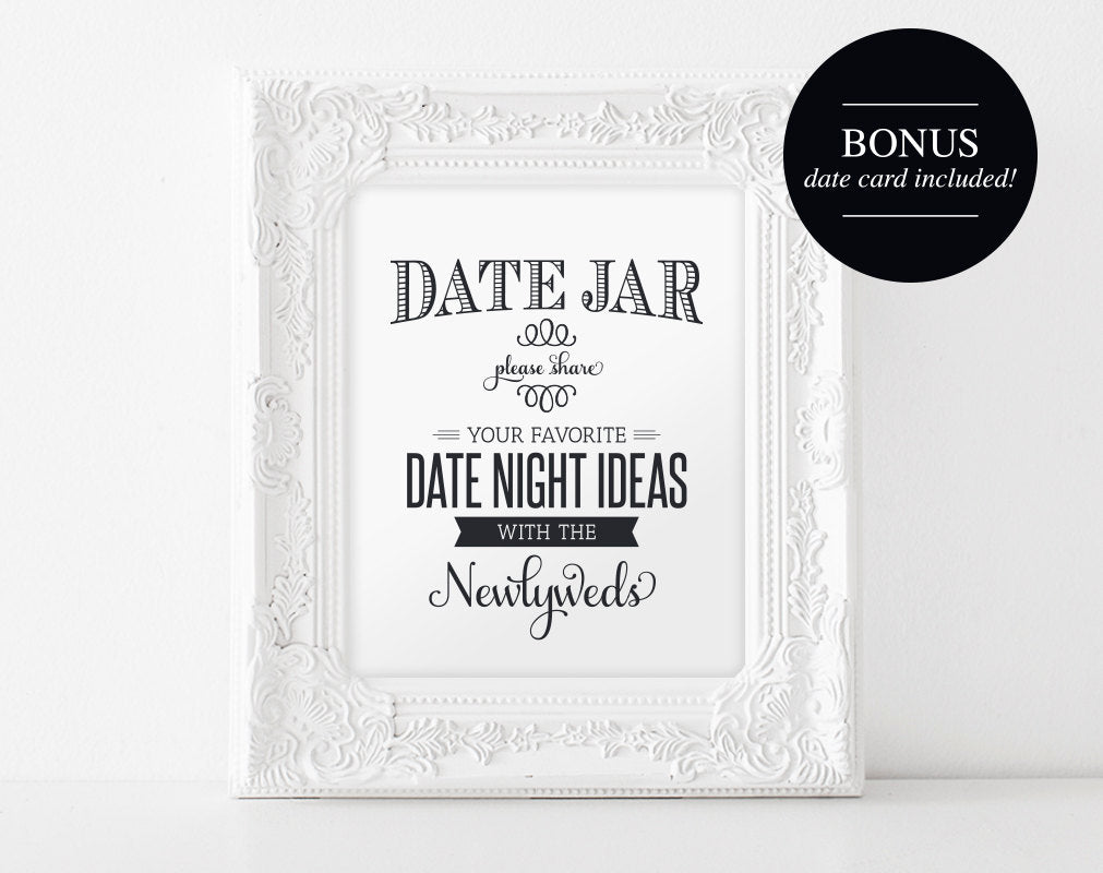 Date Night Jar Sign And Card Wedding Printable Date Night Ideas Wed Bliss Paper Boutique