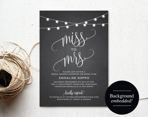 Bridal Shower Invitation, Bridal Shower Invites, Wedding Shower Invitation, Miss to Mrs, Shower Printable, PDF Instant Download #BPB299_12 - Bliss Paper Boutique