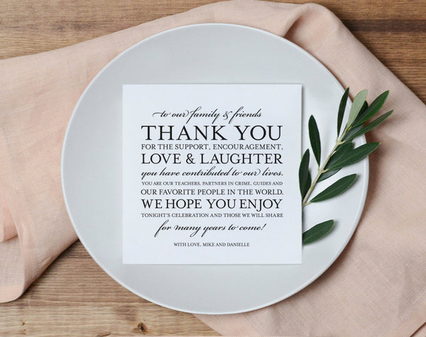 Wedding Thank You Card, Place Setting Thank You Card, Thank You Card Template, Wedding Printable, PDF Instant Download #BPB106_14 - Bliss Paper Boutique
