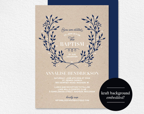 Baptism Invitation, Baptism Invitation Girl, Baptism Invitation Boy, Baptism Invitation Printable, Communion, PDF Instant Download #BPB296 - Bliss Paper Boutique