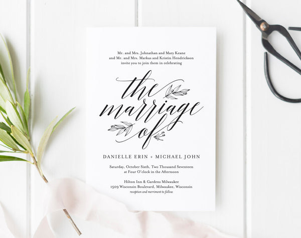 Wedding Invitation Template, Rustic Wedding Invitation, Wedding Printable, Wedding Invite Template, PDF Instant Download #BPB312_1 - Bliss Paper Boutique