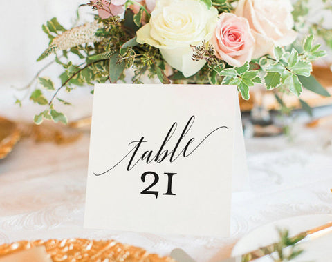 Table Numbers Printable, Wedding Table Numbers, Table Number Template, Wedding Printable, Tented, Folded, PDF Instant Download #BPB310_7 - Bliss Paper Boutique