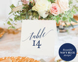 Table Numbers Printable, Table Numbers Wedding, Table Number Template, Navy Blue Wedding Printable, Blue, PDF Instant Download #BPB320_7 - Bliss Paper Boutique
