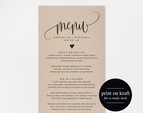 Rustic Wedding Menu, Wedding Menu Template, Menu Cards, Menu Printable, Rustic Wedding, Wedding Dinner Menu, PDF Instant Download #BPB203_4 - Bliss Paper Boutique
