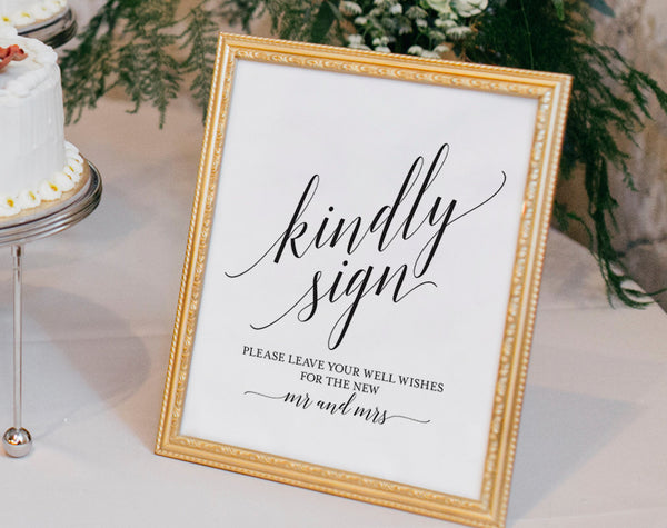 Guest Book Alternative Sign, Guest Book Printable, Mr and Mrs Sign, Kindly Sign, Wedding Printable Sign, PDF Instant Download #BPB310_45 - Bliss Paper Boutique