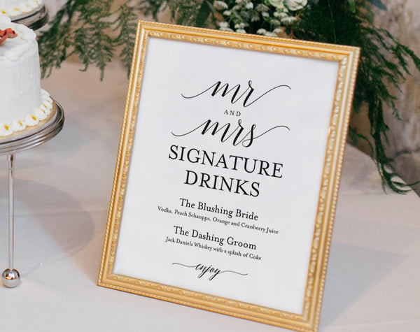 Signature Drinks Printable, Signature Drinks Sign, Signature Cocktails, Bar Sign, Wedding Printable, Sign, PDF Instant Download #BPB310_36 - Bliss Paper Boutique
