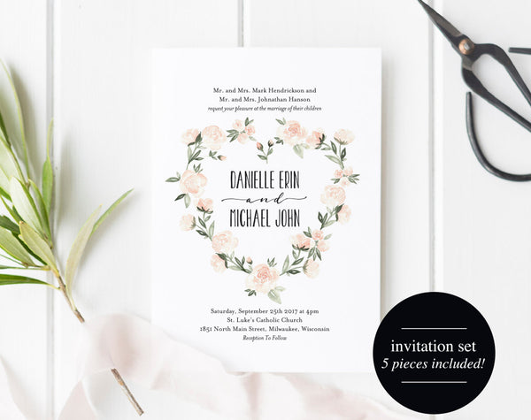 Boho Wedding Invitation Template, Floral Wedding Invitation Printable, Spring Wedding, Wedding Invite, DIY, PDF Instant Download #BPB321_1 - Bliss Paper Boutique