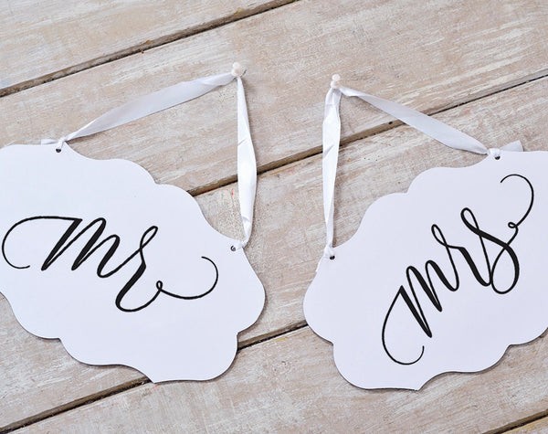 Mr and Mrs Sign, Mr and Mrs Chair Signs, Wedding Chair Signs, Wedding Sign, Wedding Printable, DIY, PDF Instant Download #BPB203_23_1 - Bliss Paper Boutique
