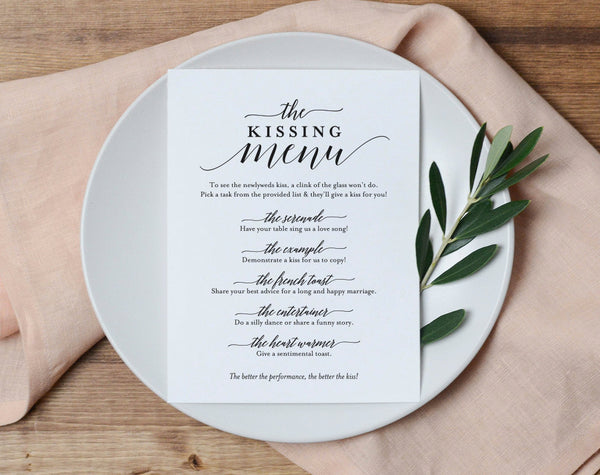 Kissing Menu, Wedding Kissing Menu, Kissing Menu Printable, Wedding Reception Sign, Wedding Game, Template, PDF Instant Download #BPB310_48 - Bliss Paper Boutique
