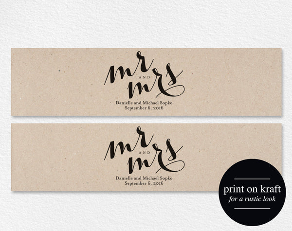 Wedding Water Bottle Labels, Personalized Water Bottle Label, Water Bottle Template, Mr and Mrs, Wedding PDF Instant Download #BPB133_31 - Bliss Paper Boutique