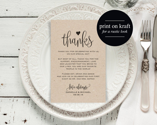 Wedding Thank You Cards, Thank You Printable, Editable Template, Kraft Printable, DIY, Printable Template, PDF Instant Download #BPB203_14 - Bliss Paper Boutique