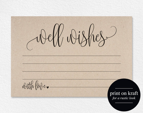 Well Wishes, Wedding Advice Cards, Well Wishes Card, Well Wishes for Baby, Wedding Advice Template, PDF Instant Download #BPB203_18 - Bliss Paper Boutique