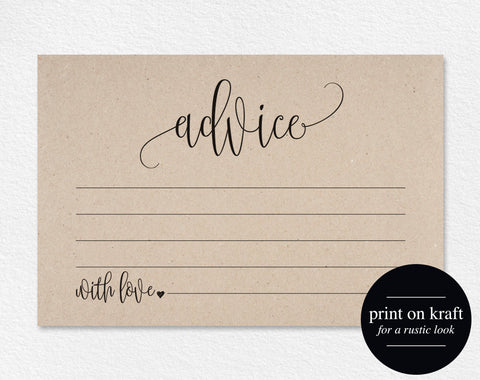 Advice Cards, Wedding Advice Cards, Marriage Advice, Advice Printable, Wedding Advice Template, PDF Instant Download #BPB203_15 - Bliss Paper Boutique