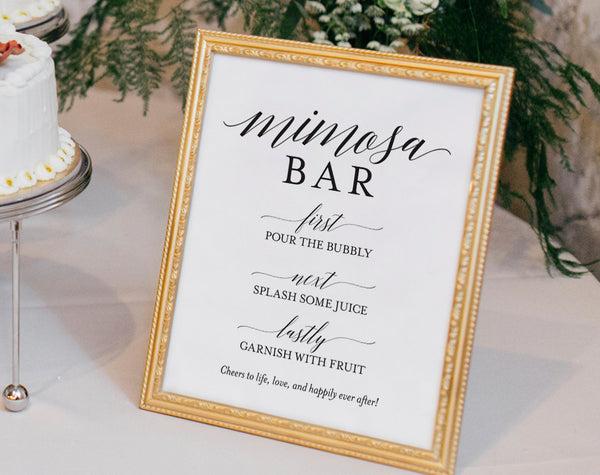 Mimosa Bar Printable, Mimosa Bar Sign, Bubbly Sign, Bridal Shower Ideas, Bridal Shower Sign, Wedding, PDF Instant Download #BPB310_50 - Bliss Paper Boutique