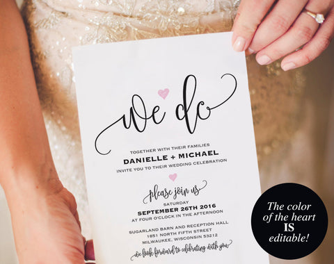We Do Wedding Invitation Template, Heart Wedding Invitation, Wedding Invitation Printable, Wedding Template, PDF Instant Download #BPB322_1 - Bliss Paper Boutique