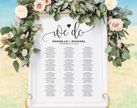 Wedding Seating Chart Sign, Seating Chart Printable, Seating Chart Template, Seating Board, Seating Plan, PDF Instant Download #BPB203_52 - Bliss Paper Boutique
