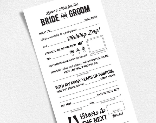Wedding Mad Libs Printable Template, Wedding Keepsake, Marriage Advice, Advice Card, Funny, Mad Lib Printable, PDF Instant Download #BPB27 - Bliss Paper Boutique