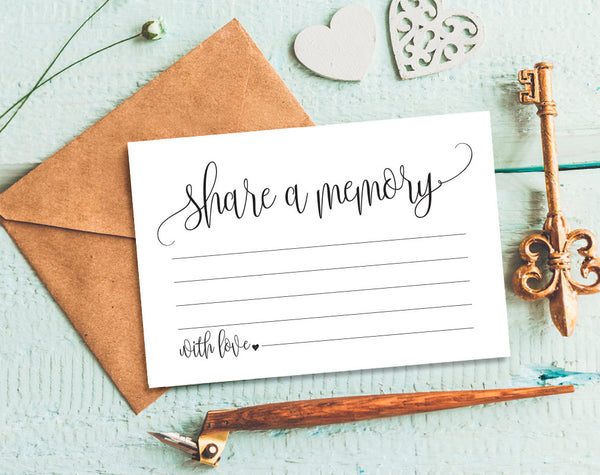 Share a Memory Card, Memory Cards, Share a Memory Printable, Memorial Card, Keepsake, Funeral Memory Card, PDF Instant Download #BPB203_37 - Bliss Paper Boutique