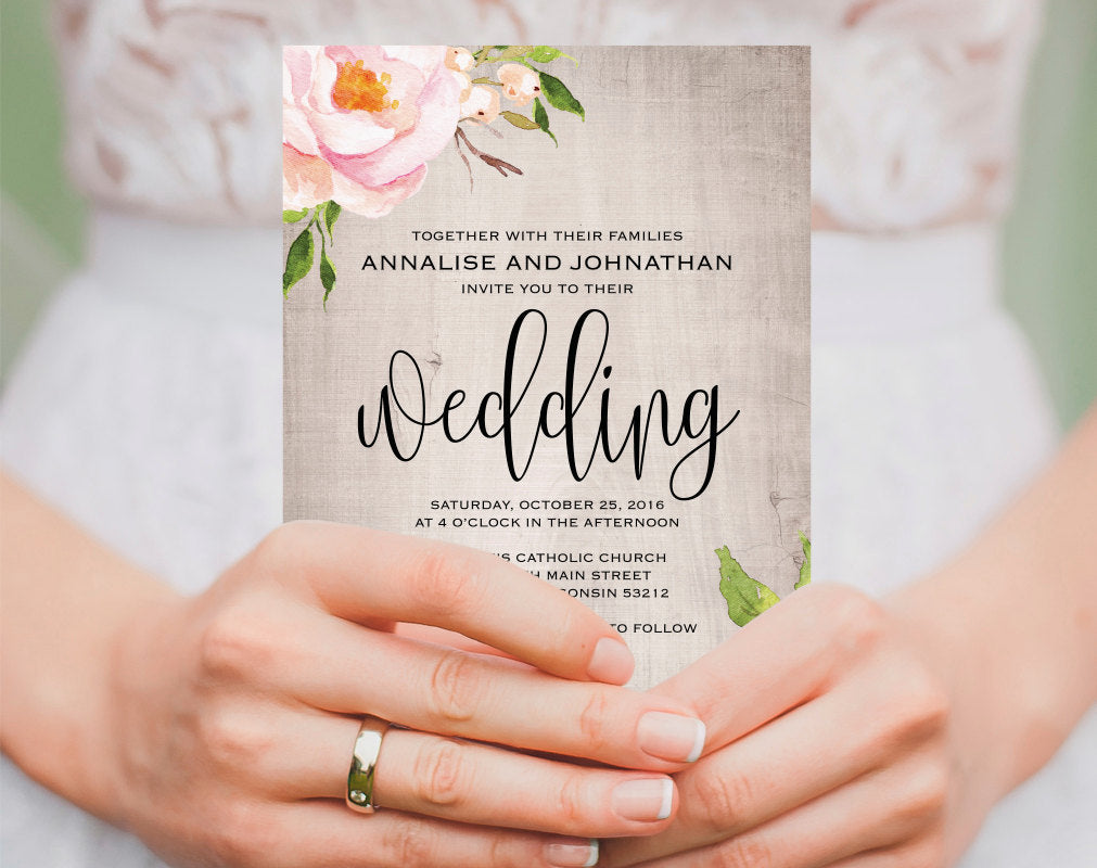 Floral Wedding Invitation Printable Rustic Wood Template PDF Instant Download BPB315 1