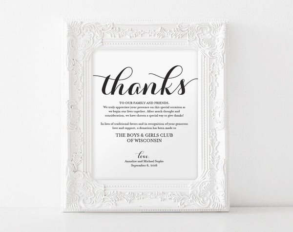 In lieu of wedding favors, Wedding Donation Sign, Charity Printable, Thank you donation printable Sign, PDF Instant Download #BPB133_22 - Bliss Paper Boutique