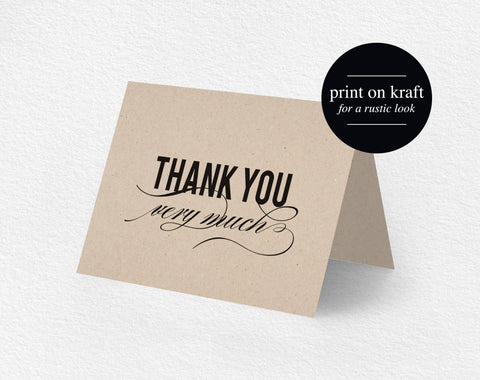 Thank You Card Printable, Wedding Thank You, Thank You Card Template, Thank You, Folded Thank You, Tented, PDF Instant Download #BPB180_27 - Bliss Paper Boutique