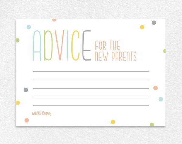 Advice for the New Parents, Baby Shower Advice Card, Baby Shower Wishes, Baby Shower Game, Baby Shower Ideas, PDF Instant Download #BPB93_5 - Bliss Paper Boutique