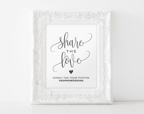 Share The Love Sign, Wedding Hashtag Sign, Hashtag Printable Template, Wedding Sign, Wedding Printable, PDF Instant Download #BPB203_30 - Bliss Paper Boutique